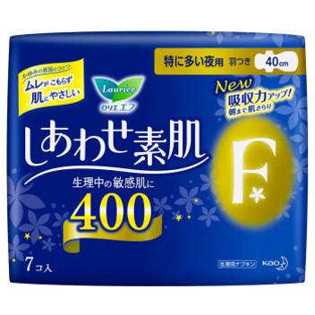 【女神必备】日本花王乐而雅F系列绵柔亲肤量多夜用护翼卫生巾40cm7片